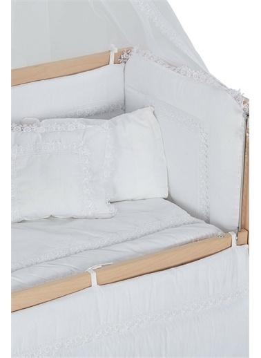 Babycom Naturel Boyasız Ahşap - Tekerlekli - 4 Kademeli Anne Yanı 60 x 120 Beşik + Kahve Zikzak Uyku Seti Beyaz
